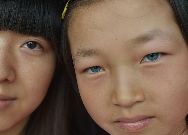 girl eyes with blue asian