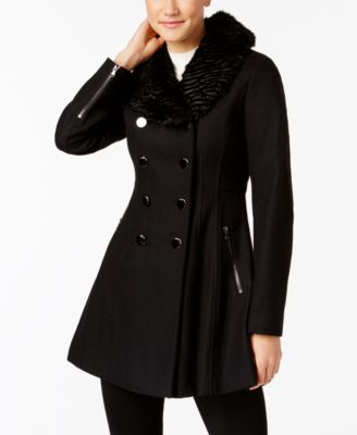 skirted double breasted pea guess coat